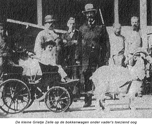 De kleine Grietje Zelle op de bokkenwagen onder toeziend oog van haar vader Adam Zelle